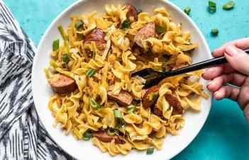 Fried Cabbage With Noodles And Sausage